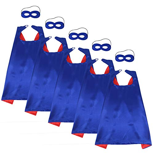 iROLEWIN Children's Superhero Capes with Mask Set - Boys and Girls Cosplay Fancy Capes - Kids Dress Up Holiday Party (Blue-Red)]()