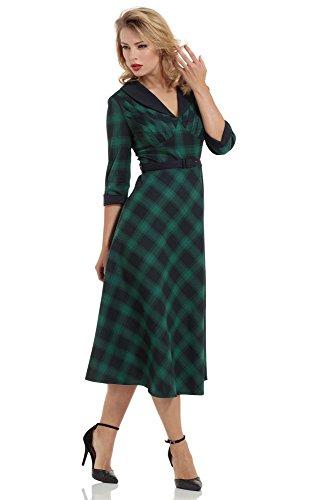 Voodoo-Vixen-Retro-50s-Rockabilly-Lola-Plaid-Green-Flair-Dress