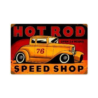 (Past Time Signs PTS236 Hot Rod Speed Shop Automotive Vintage Metal Sign)