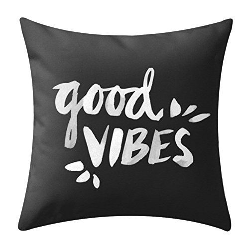 KACOPOL Inspirational Quote Throw Pillow Covers Super Soft Short Plush Home Decor Pillow Case Cushion Cover Words Sofa Square 18x18 Inches (Good Vibes)