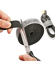 Tycom Cable Tidy Management, Fastening Tape Sticky Strips Hook Loop Reusable and Flexible Wire Ties Cable Organizer for Computer, TV, Power and Other Cables - Black 5Meter