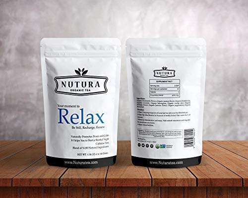 Nutura Organic Relax Tea - Relaxing Bedtime Tea with Passion Flower, Chamomile, and Lavender - Caffeine Free Sleep Aid For Insomnia - Promotes A Calming Restful Sleep - 20 Servings