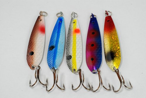 Akuna Pack of 5 Treasure Troller 3 inch Trolling Spoon Fishing Lure [JM-5-FLC15-C]