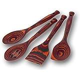 "Island Bamboo 12"" Rainbow Pakkawood Wooden Spoon & Spatula 4pc Utensil Set"