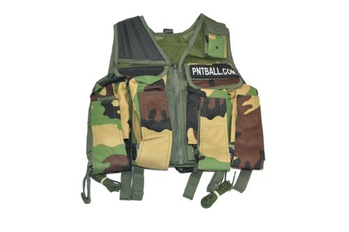 3Skull Paintball Tactical Flap Vest w/Tank Pouch- Olive/Camo by 3Skull
