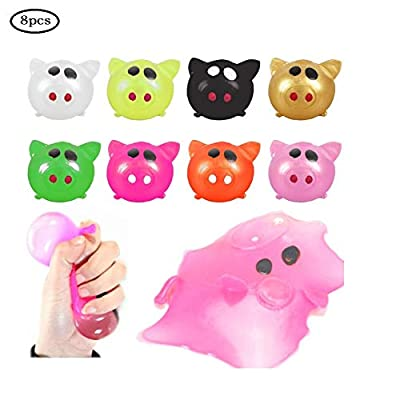 GUCHIS 8pcs Random Antistress Decompression Splat Ball Vent Toy Smash Various Styles Pig Toys Squeeze Squishy Funny Toy: Toys & Games