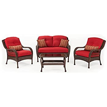 High Quality La Z Boy Outdoor Bristol Resin Wicker Patio Furniture Conversation Set  (Scarlet Red