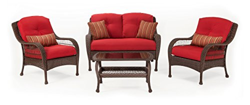 Bristol Sofa - La-Z-Boy Outdoor Bristol Resin Wicker Patio Furniture Conversation Set (Scarlet Red, 4 Piece):Two Lounge Chairs, Loveseat, Coffee Table With All Weather Sunsharp Cushions