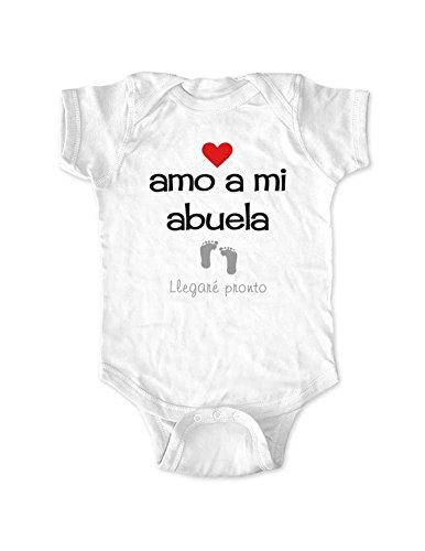 amo a mi abuela Llegare Pronto - Spanish I love my grandma Coming Soon baby bodysuit (Newborn Bodysuit, White)