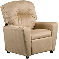 Kidzworld Home Indoor Children Camel Suede Kids Recliner