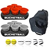 BucketBall - Team Color Edition - Party Pack (Orange/Silver): Original Yard Pong Game: Best Camping, Beach, Lawn, Outdoor, Family, Adult, Tailgate Game