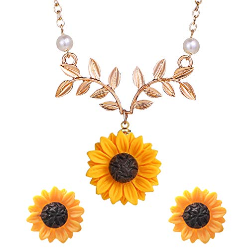 S-WAY Hypoallergenic Sunflower Pearl Leaf Chain Resin Boho Handmade Drop Pendant Necklace Plated Sunflower Resin Earring Set(Leaf-Gold)
