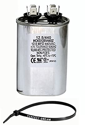 PowerWell 12.5 MFD uf 370 or 440 Volt Fan Motor Run Oval Capacitor Kit PW-CAP-12.5/440 Condenser for Air Handler Straight Cool or Heat Pump Air Conditioner and Zip Tie