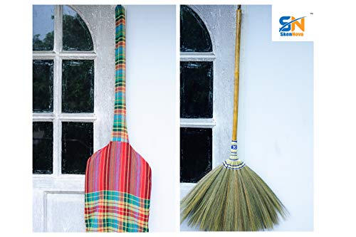 Natural Grass Broom 100% Handmade with a Bamboo Stick Embroidered Woven Nylon Top and Bottom Handle and Sedge Hand Grip Thai Broom for Indoor and Outdoor Use - Soft, Large, Wide, Vintage