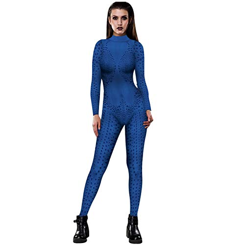 Damela Women 3D Printed Mystique Cosplay Costumes Halloween Costume Jumpsuit Bodysuit (XL,Color-2)