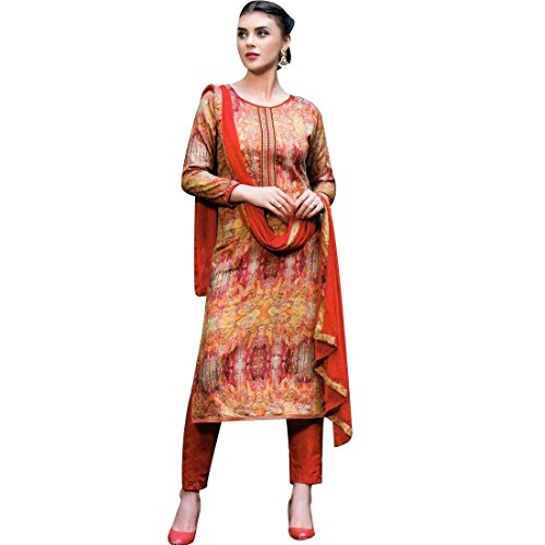 (Ready to Wear Designer Print Embroidery Cotton Salwar Kameez Suit Rust)