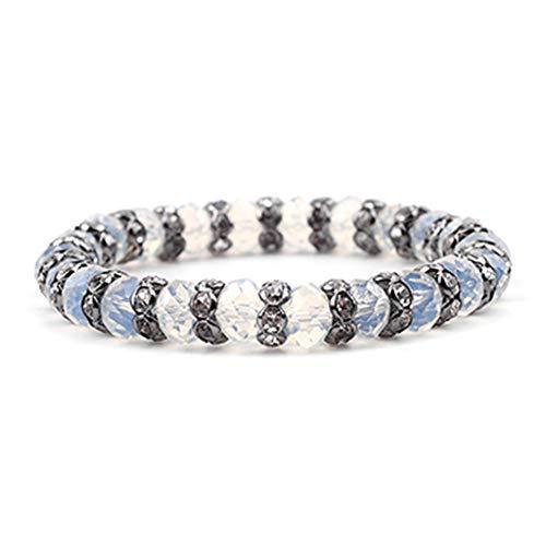 SUPERON Elastic Gold Gunmetal Silver Rondelle Beads Crystal Bracelets for Women Mint Bracelet(Adjustable,Opal Black)