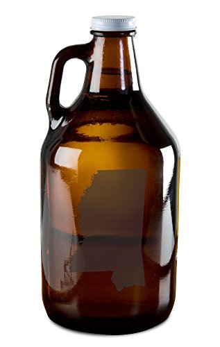 State of Mississippi Etched Growler for Beer, Wine, Whiskey, Moonshine, and More! (West Gulfport Mississippi)