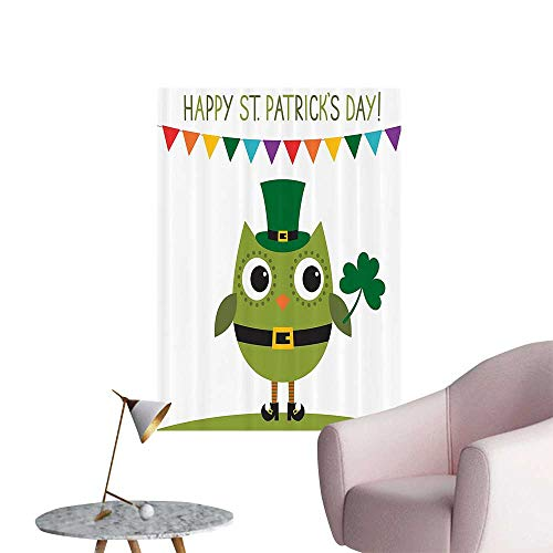 Wall Decoration Wall Stickers Owl with Leprechaun Costume Greeting for Party Shamrock Bathroom Print Artwork,20