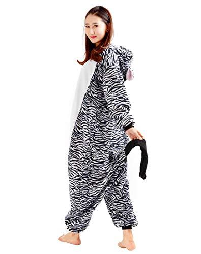 Unisex Kigurumi Adulti Costume Animale Halloween Cosplay Pigiama Zebra Carnevale Zebra 7AAqdrwO