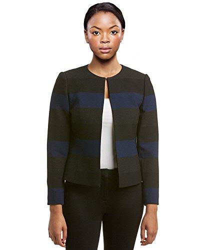 Fully Lined Petite Coat (Tahari ASL Womens Petites Striped Long Sleeves Jacket Navy 6P)
