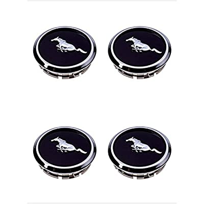 Armertek FM66 2005-2014 Mustang Wheel Center Hub Caps Covers Black Chrome Pony Emblem (4): Automotive