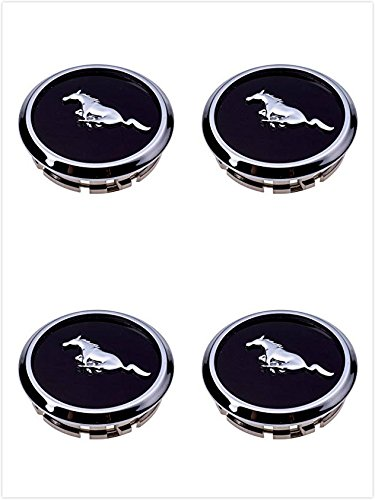 Armertek FM66 2005-2014 Mustang Wheel Center Hub Caps Covers Black Chrome Pony Emblem (4)
