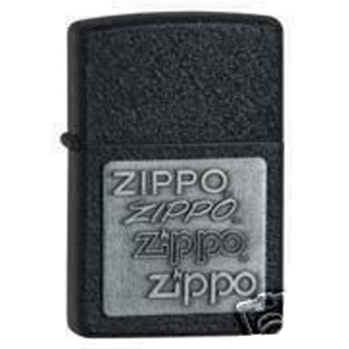 Zippo 363 Black Crackle, Pewter Emblem, Lighter