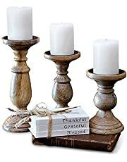 Pillar Candle Holders Set of 3, Wood Candle Holders Centerpiece, Distressed Tall Candle Holders, Farmhouse Candle Holders for Fireplace