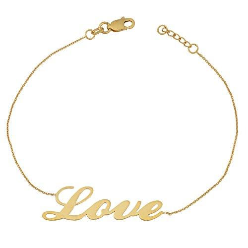 Kooljewelry Yellow Gold Over Sterling Silver Sideways Polished Love Adjustable Length Bracelet (7.5 inch) (Length Bracelet Adjustable Silver Sterling)