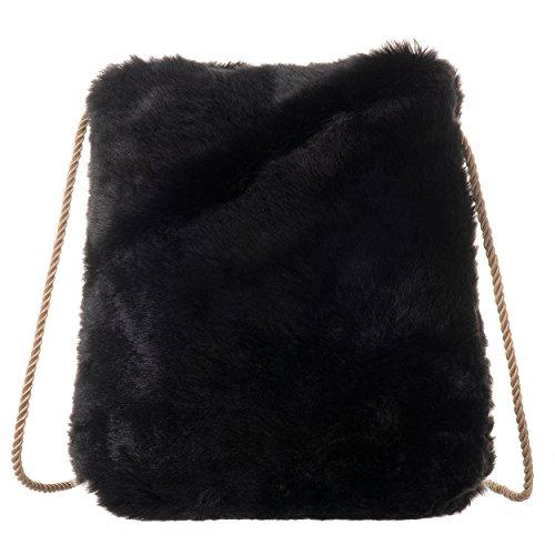 QZUnique Women's Spring Soft Faux Fur Shoulder Bag Plush Cossbody Tote Handbag (Hobo Bag Faux Fur)