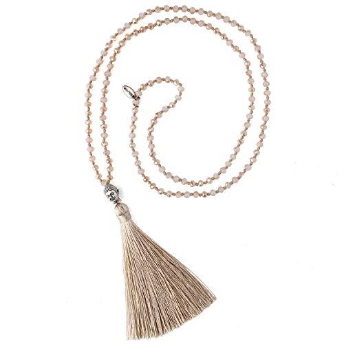 KELITCH Crystal Silver Buddha Head Beaded Necklace Handmade Beige Tassel Layering Long Necklace 28