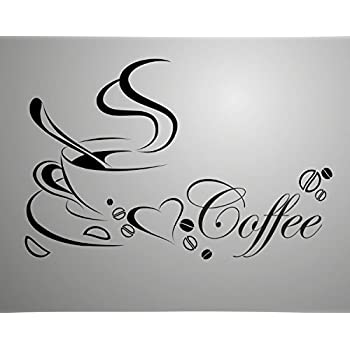 Coffee Cup with English Word Double Sided Removable Wall Vinyl Sticker  Decals Decor Art Bedroom Design