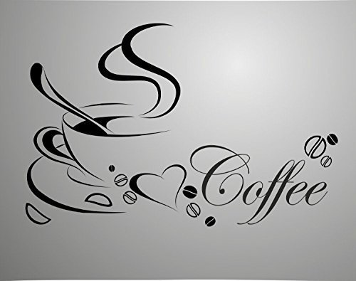 [Coffee Cup with English Word Double Sided Removable Wall Vinyl Sticker Decals Decor Art Bedroom Design Mural Quotes for Window Glass Door] (Design Wall Decor Murals)