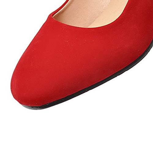 Red Solid Pumps Frosted Round Pull Women's Heels Shoes Toe Kitten WeiPoot On PHqSxna