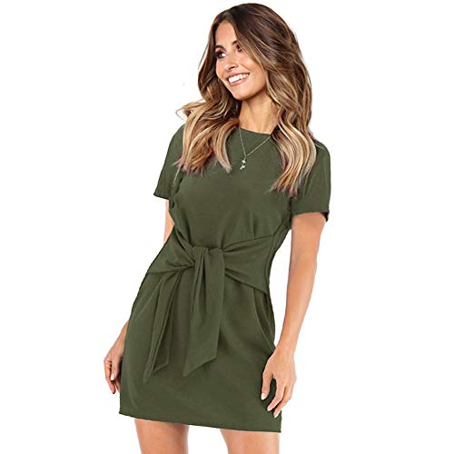 Longwu Women's Loose Casual Front Tie Short Sleeve Bandage Dress for Party Work Summer Green-L