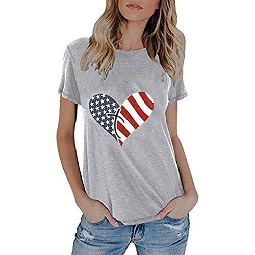 Todaies Women's Fashionable Loose American Flag Short-Sleeved Printed T-Shirt Top(Independence Day) (L, Gray 1) ()