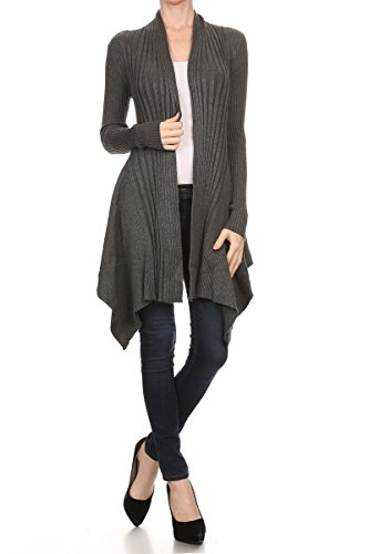 ReneeC. Women's Open Front Rib Knit Classic Asymmetric Long Cardigan (Large, Grey)