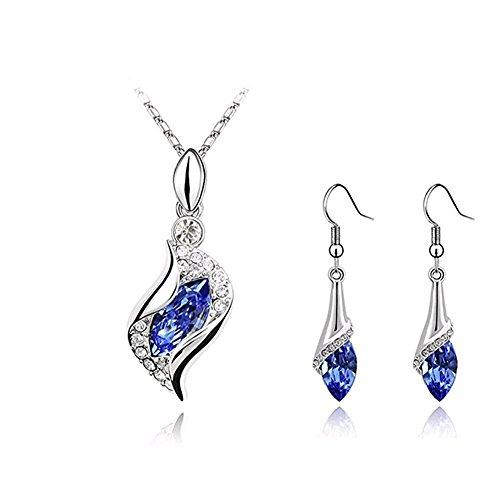 Adorable Woman Blue Long Teardrop Swarovski Element Set Austria Crystal Fashion Earrings Pendant Necklace