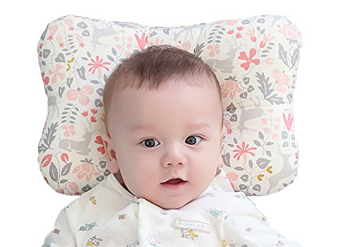 Baby Pillow For Newborn Breathable 3-Dimensional Air Mesh Organic Cotton, Protection for Flat Head Syndrome Bambi Pink