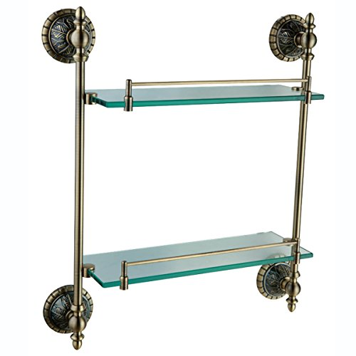 Bathroom Glass Shelf 2-Tier Bronze Antique Brass Wall Mounted Brass Material Bathroom Kitchen Storage Organizer 45cm GM2715 by UMANYI