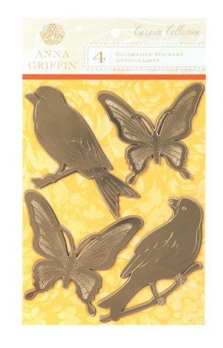 Anna Griffin - Carmen Collection - Embossed Foiled Dimensional Stickers Birds and Butterflies