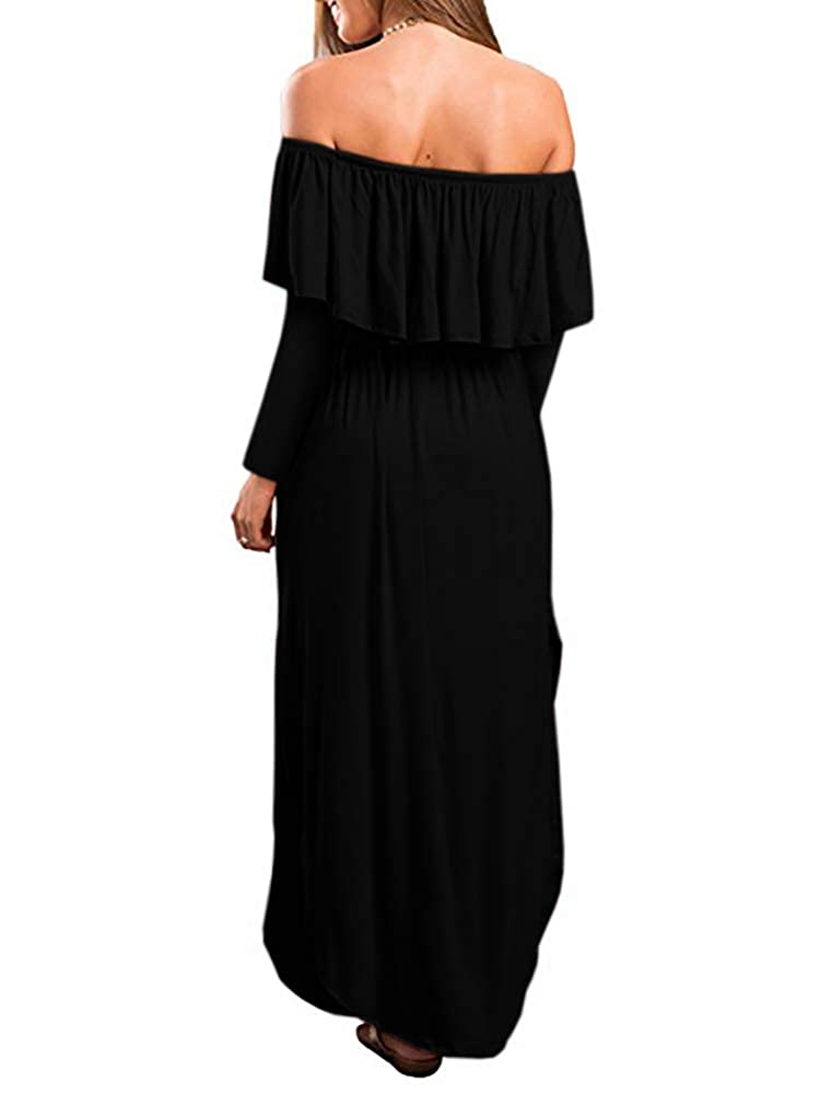 ea233571708 GAMISOTE Womens Off The Shoulder Plus Size Ruffle Casual Long Maxi Dresses  with Pockets at Amazon Women s Clothing store