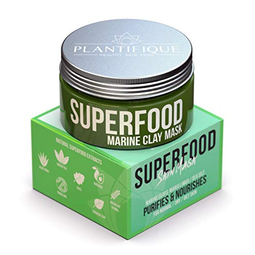 (Superfood Marine Clay Mask for Face - Best Facial Pore Minimizer - Cleanse and Detoxify the Skin - Reducer & Pores Cleanser Treatment - Natural for Younger Looking Skin)