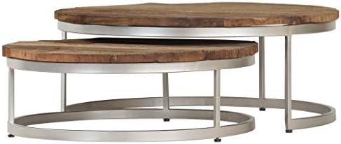 Beperkt Nieuw Tidyard Tafelset, salontafel, bijzettafel, woonkamertafel, 2 stuks, van hout en staal in industriële stijl  lgobQCq