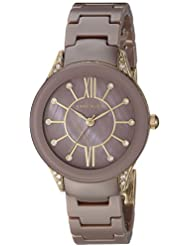 Anne Klein Womens AK/2388MVGB Swarovski Crystal Accented Gold-Tone and Mauve Ceramic Bracelet Watch