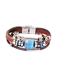 FASHION PLAZA Simulated Blue Opal Stone Leather Bracelet -19cm- L20