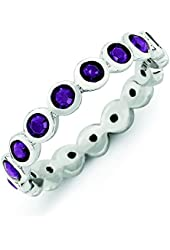 3.5mm Sterling Silver Stackable Expressions February Swarovski Element Ring - Ring Size Options: 10 5 6 7 8 9