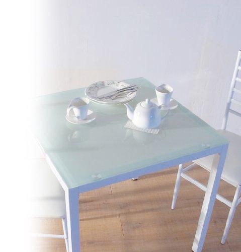 10mm厚 強化ガラスダイニングテーブル 75X75cm ホワイト(白) B006030SRQ