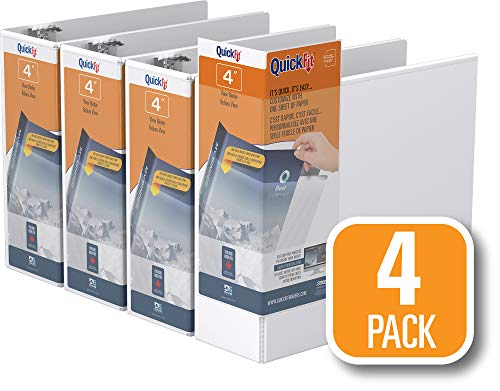 QuickFit View Binder, 4 Inch, Locking Angle D Ring, White, 4 Pack (87060-04)